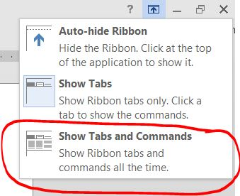Word 2013 Always Show Ribbon