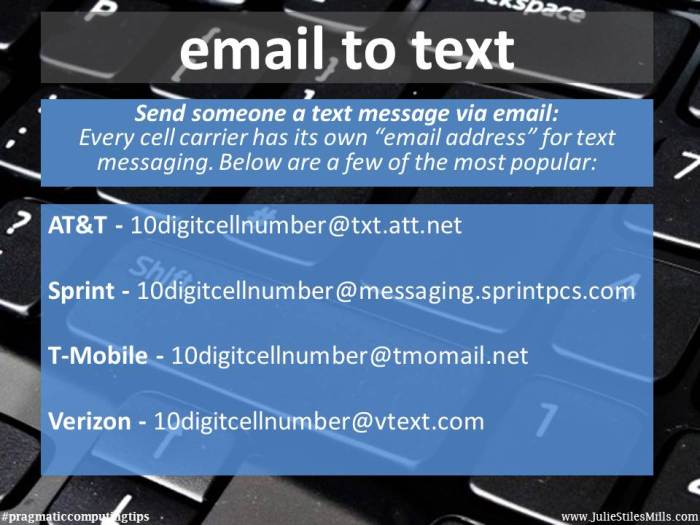 pragmaticcomputing tips email to text