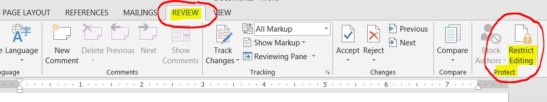 prevent editing in a Section of a MS Word template/document