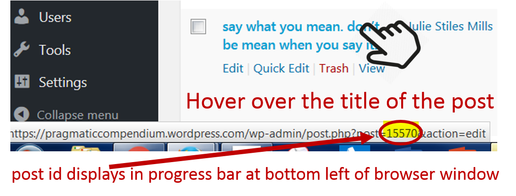 wordpress: where can I find the postid?