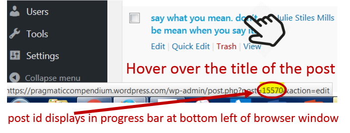 wordpress-post-id-hover-over-post-title